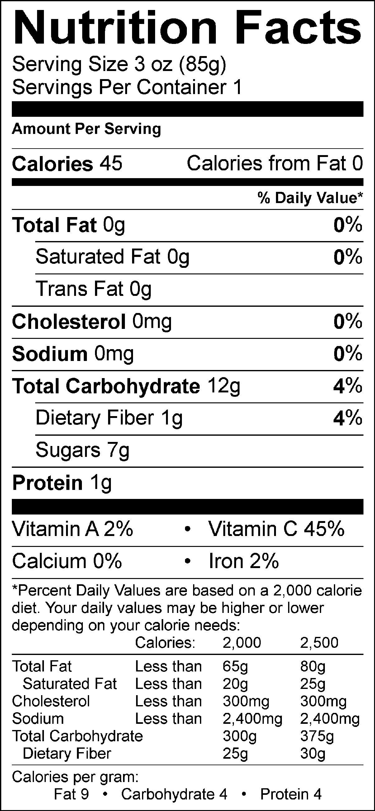 Banana Orange Strawberry Pop Nutrition Facts