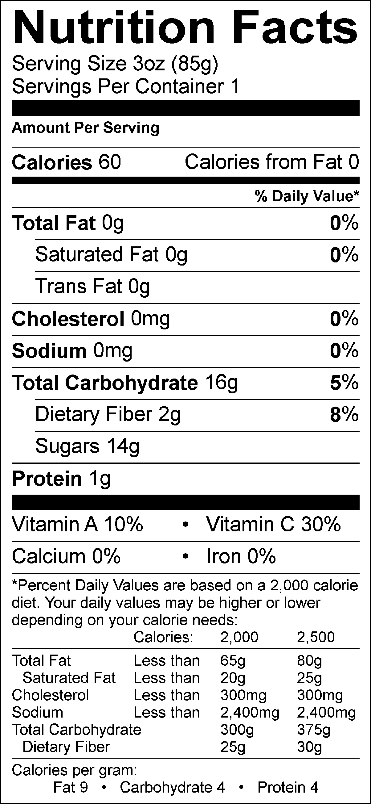 Cherry Mango Nutrition Facts