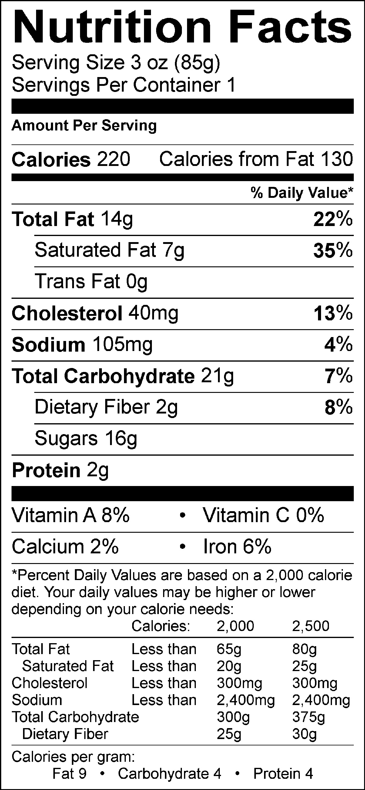 Chocolate Cookie Nutrition Facts