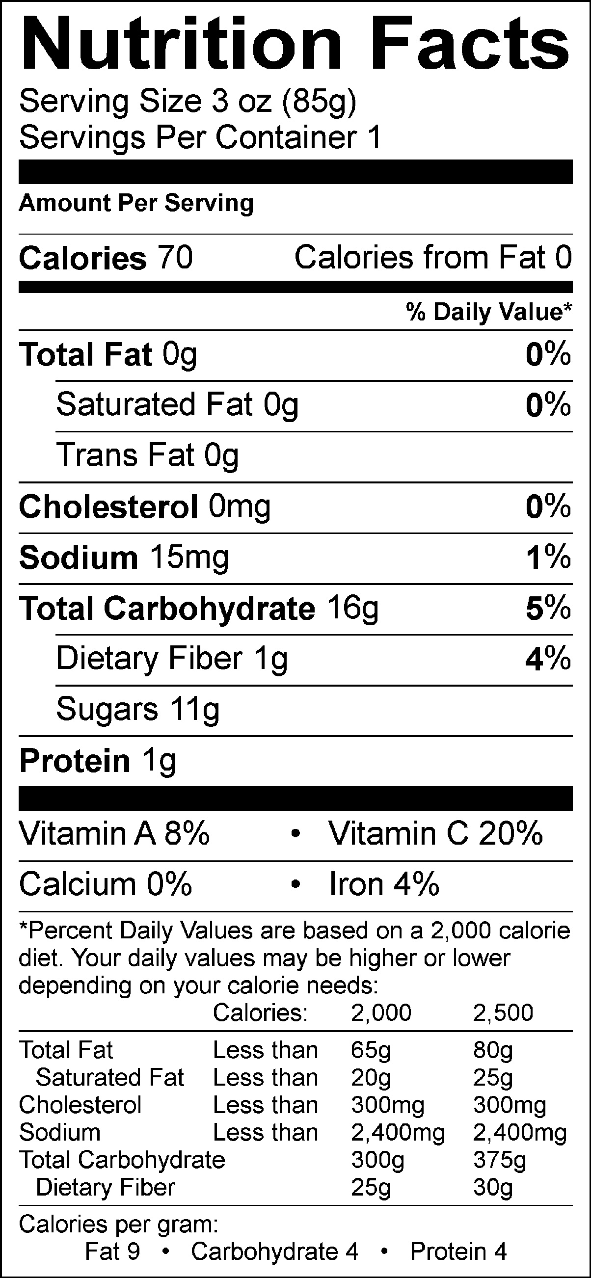 Blackberry Pineapple Mango Nutrition Facts