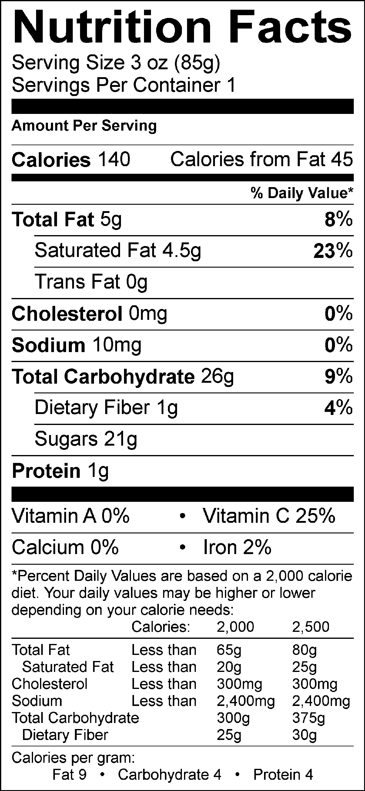 Coconut Pineapple Banana Nutrition Facts