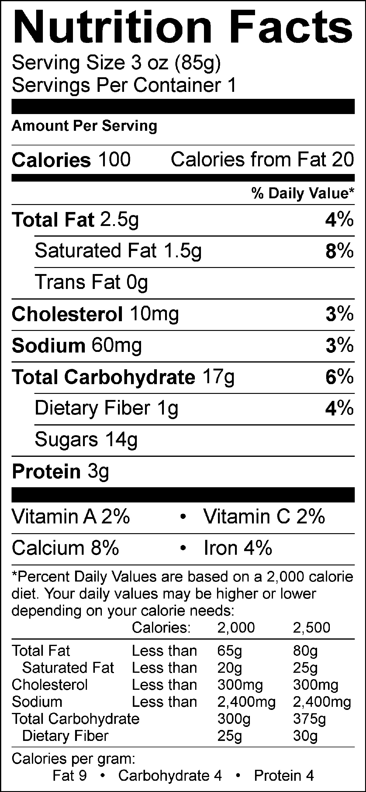 Mocha Stout Nutrition Facts